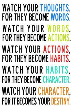 Watch Your Thoughts Colorful Motivational