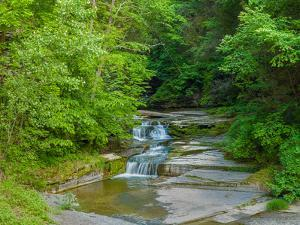 Water falling from rocks, Eagle Cliff Falls, Havana Glen Park, Finger Lakes Region, New York Sta...