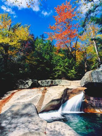 Water falling into a river, Pemigewasset River, Franconia Notch State Park, White Mountains, New...