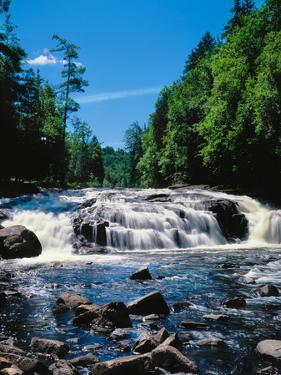 Water flowing from rocks in a forest, Buttermilk Falls, Raquette River, Adirondack Mountains, Ne...