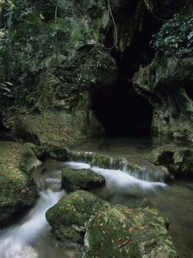Water Flows from the Mouth of the Tunichil Muknal Cave