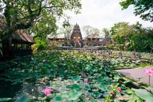 Water Lilies in a Pond at the Pura Taman Saraswati Temple, Ubud, Bali, Indonesia