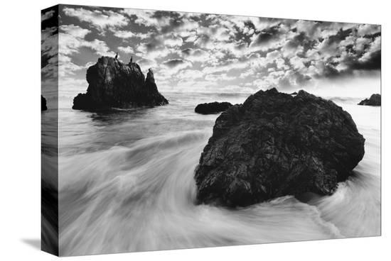 Water Movements, Malibu, California--Stretched Canvas Print