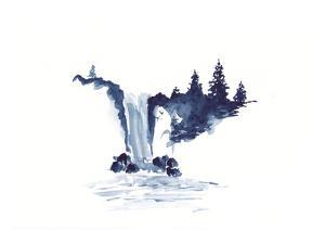 Watercolor Landscape of Waterfall and Pine Trees in Chinese Ink Technique. Hand Drawn Calm Mountain
