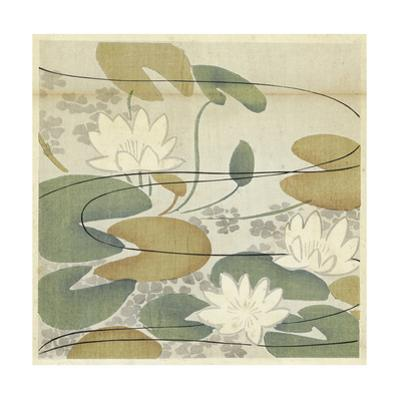 Watercolor Lily Pads with Flowers with Stylized Water