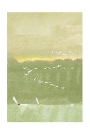 Watercolor of Sailboats with Flock of Seagulls