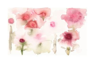 Watercolor Painting of Abstract Flowers