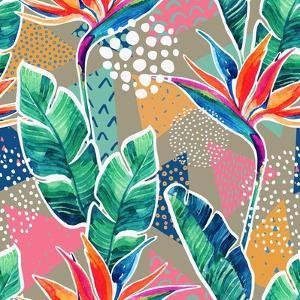 Watercolor Tropical Flowers with Contour on Geometric Background. Hand Drawn Bird-Of-Paradise Flowe