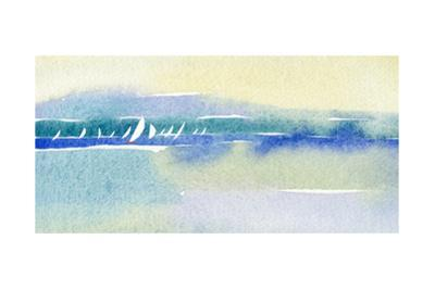 Watercolor with Many Sailboats and Shoreline