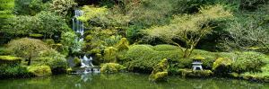 Waterfall in a Garden, Japanese Garden, Washington Park, Portland, Oregon, USA