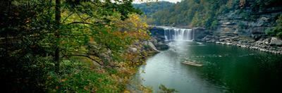 Waterfall in forest, Cumberland Falls, Cumberland Falls State Park, Kentucky, USA