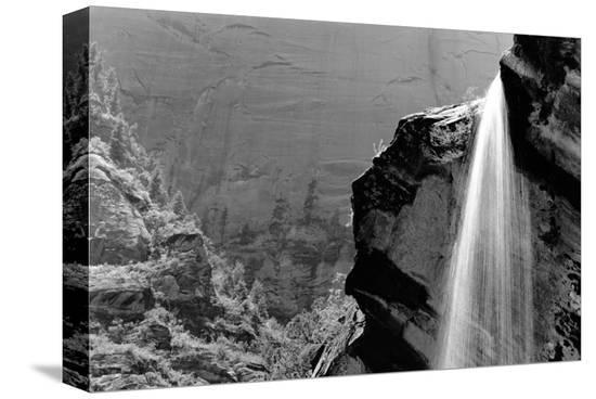 Waterfall, Zion National Park, Utah--Stretched Canvas Print