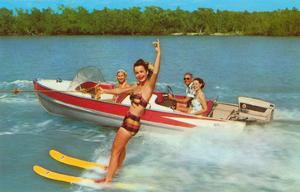 Waterskiing on the Lake, Retro