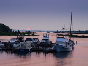 Waubaushene harbor at sunset, Ontario, Canada
