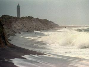 Waves from the Atlantic Ocean Crash against the Shore at Robert Moses State Park