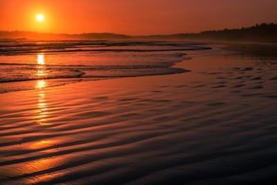 Waves rolling into Long Beach at sunset, Pacific Rim National Park Reserve, Vancouver Island, Br...
