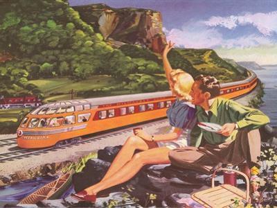 Waving at Streamlined Train
