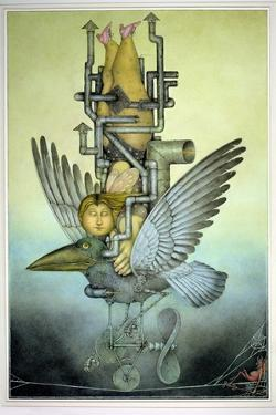 Balancing Girl on Mechanical Bird on Tightrope by Wayne Anderson