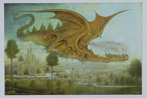Flying Dragon over Landscape by Wayne Anderson