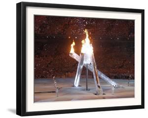 Wayne Gretzky and Others with Burning Olympic Cauldron, Opening Ceremonies for the XXI Winter Games