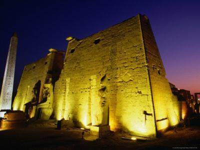 Ancient Temple at Night, Luxor, Egypt by Wayne Walton