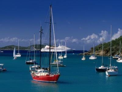 Sailing Ships and Cruise Ship in Harbour, Port Elizabeth, St. Vincent & the Grenadines by Wayne Walton
