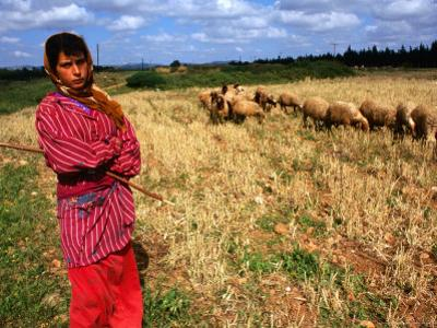 Shepherd Girl with Sheep, Amrit, Syria by Wayne Walton