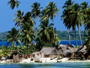 Tropical Island Village on Beach, Panama by Wayne Walton