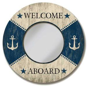 Welcome Aboard Circle Mirror Wood Sign