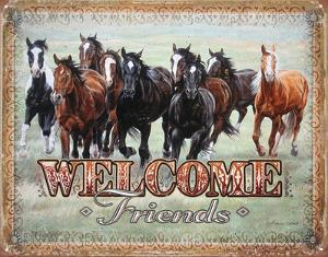 Welcome Friends - Horses Tin Sign