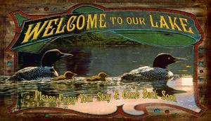 Welcome To Our Lake Vintage Wood Sign
