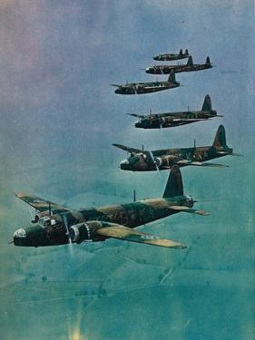 Wellington Bombers in Formation, 1940