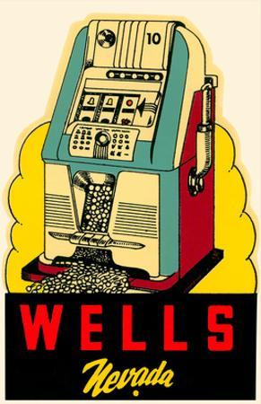 Wells, Nevada Decal, Slot Machine