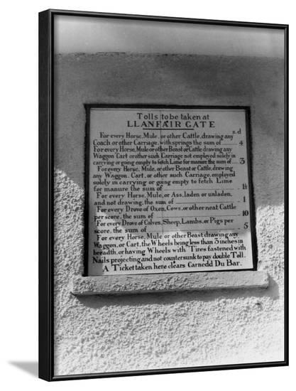Welsh Toll Notice--Framed Photographic Print