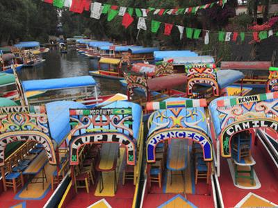 Brightly Painted Boats, Xochimilco, Trajinera, Floating Gardens, Canals, UNESCO World Heritage Site