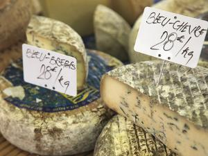Cheese on Market Stall, Cours Massena, Old Town, Vieil Antibes, Antibes, Cote D'Azur, French Rivier by Wendy Connett