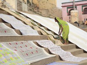 Dhobi Wallah Drying Laundry, Ghats, Varanasi, Uttar Pradesh, India, Asia by Wendy Connett