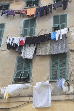 Hanging Laundry, Ventimiglia, Medieval, Old Town, Liguria, Imperia Province, Italy, Europe by Wendy Connett