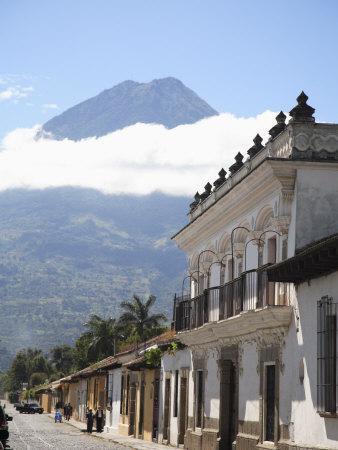 Volcano, Vulcan Agu and Colonial Architecture, Antigua, Guatemala, Central America