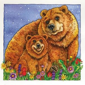 A Mother Bear and Her Cub in the Flowers. Mom by Wendy Edelson
