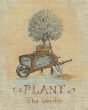 Garden Series in Linen III by Wendy Russell