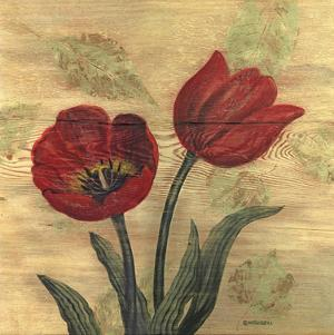 Tulip on Wood by Wendy Russell