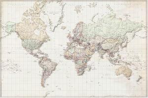 Wereldkaart - vintage Nederlandstalig