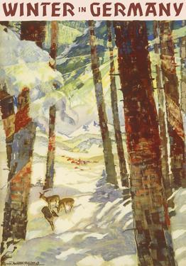 Winter In Germany - Deer in Snow Covered Forest by Werner and Maria von Axster-Heudtlaß