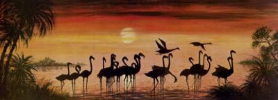Flamingos In The Sunset by Werner