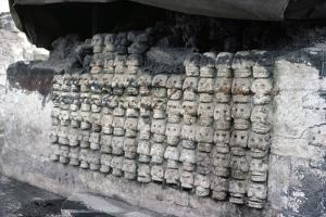 Aztec carved stone skulls, Templo Mayor, Tenochtitlan, Mexico, c1325-1521 by Werner Forman