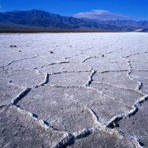 Patterned Salt Pan with Mountains in Distance, Death Valley National Park, USA by Wes Walker