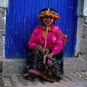 Portrait of Local Woman in Colourful Clothes, Pisac, Peru by Wes Walker