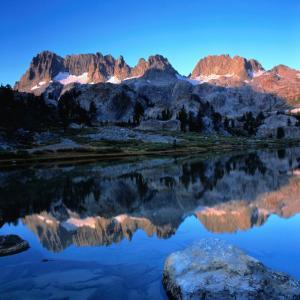 Sierra Nevada Mountains Reflected in Still Lake Waters, Ansel Adams Wilderness Area, USA by Wes Walker