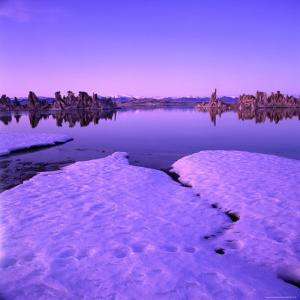 Winter Sunset Over Lake with Snow in Foreground, Mono Lake, USA by Wes Walker